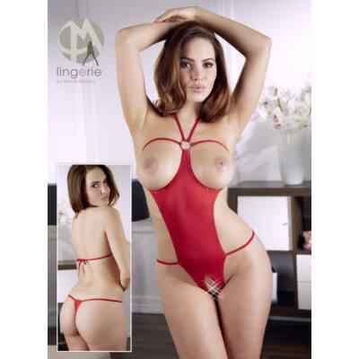Otvorené štrasové erotické body - červené
