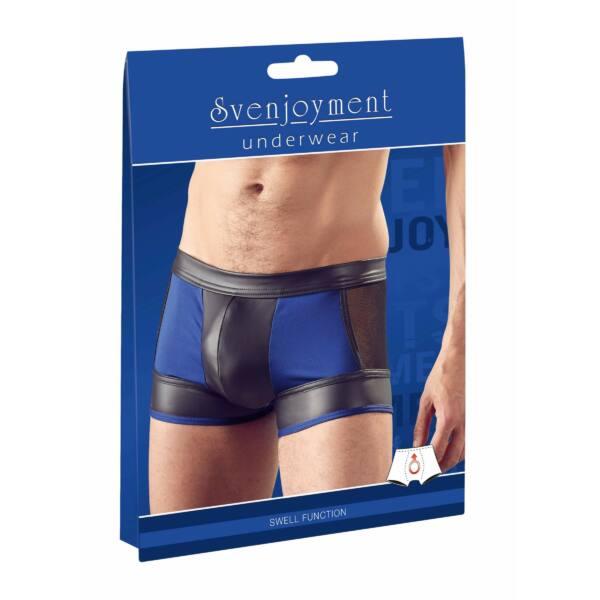 Svenjoyment - shiny boxer with fishnet insert (black-blue)
