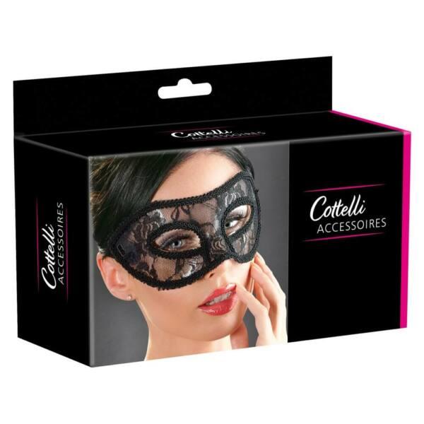 Cottelli - čipkovaná maska na oči (čierna)