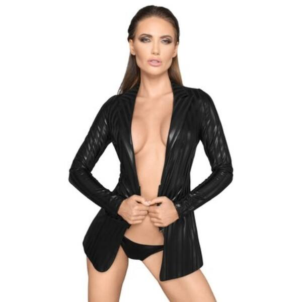 Noir - shiny-striped blazer (black)
