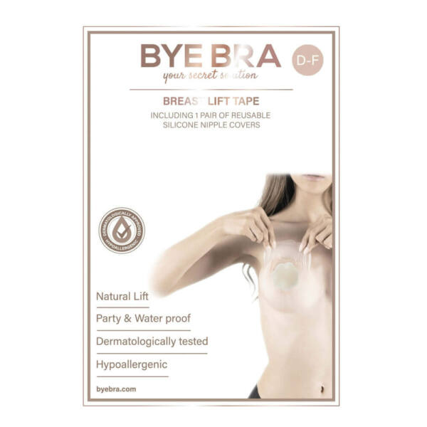 Bye Bra - Breast Lift & Silicone Nipple Covers D-F Nude 3 Pairs