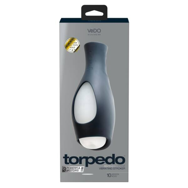 VeDO Torpedo – nabíjací vodotesný vibračný masturbátor (čierny-biely)