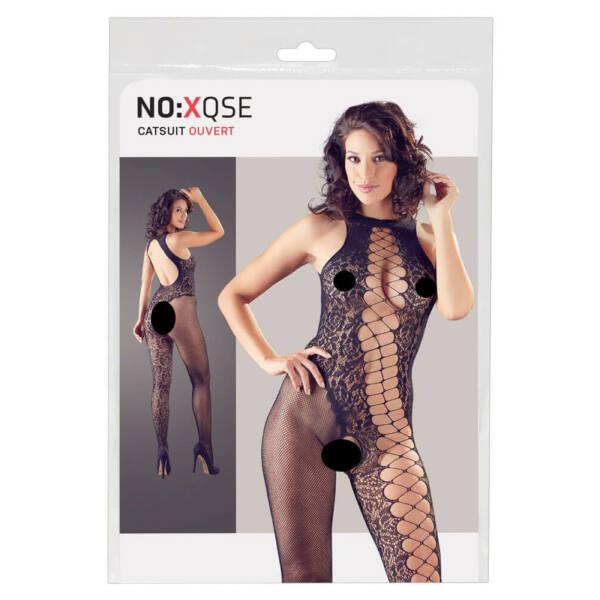 NO: XQSE - rose-lattice, open overalls (black)