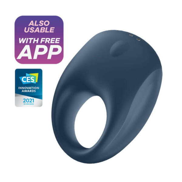 Satisfyer Strong One - nabíjací, vodotesný smart krúžok na penis (modrý)