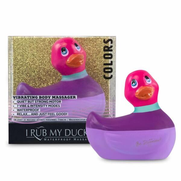 My Duckie Colors 2.0 - vodotesný vibrátor na klitoris - prúžkovaná kačička (fialovo-ružová)